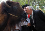 SH04GCAMPBELL Washington, July 13, 2004 - U.S. Senator Ben Nighthorse Campbell (R-Colo.) kisses a...