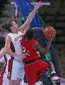 Stanford's Jillian Harmon, left, contests Southeast Missouri State's ,right, Simone Jackson, in...