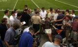 [DOVE VALLEY, CO.,  July 27, 2004) Mike Shanahan answers questions during his  annual media...