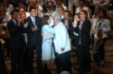 (BOSTON, Mass,Shot on: 7/27/04) Senator Edward Kennedy is kissed by his wife Victoria after...