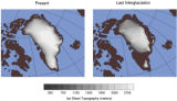 This illustration shows the height of the Greenland ice sheet at present and during the last...