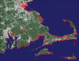The red and pink areas in this image of the coasts of the states of Massachusetts and Rhode Island...