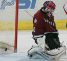 Colorado Avalanche Goaltender Jose Theodore lets one of three goals slip past him in the second...