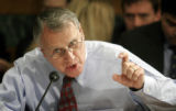 (NYT11) WASHINGTON -- March 27, 2006 -- IMMIG-CONGRESS-2 -- Sen. John Kyl (R-Ariz.) speaks as the...