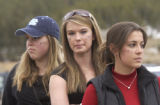 Classmates and friends of Cameron Graves (l-r) Kelsey Bailey, Danielle Glassner and Gina Phillips...