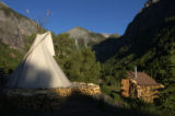 Telluride, CO. June 2004 This solar powered teepee and wood burning sauna located on the outskirts...