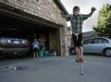 On April 13, 2006, in Lafayette, Colo. Ryan Sapena, (cq) 11 practices on his pogo stick in front...