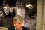 [(Boston, MA, Shot on: 7/29/04)]  Mark Udall stands near a photograph of John Kerry and John Lenen...