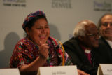 DLM00389   Nobel Peace Prize laureates Rigoberta Menchœ Tum, left, and Archbishop Desmond Tutu...