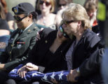 William Woody / Daily Press  Specialist Ashley Villarreal, fiance of Cpl. Chris Sitton, left,...