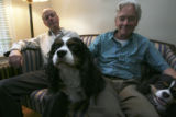 Peter Russell, left, and Stephen Crout, Right, Scooper and Pupkiss, (cq all), together at home on...