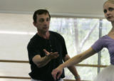 Director Gil Boggs guides dancer Chandra Kuykendall's (cq) moves as she rehearse with Colorado...