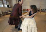 Douglas Harmsen, left, works out a scene with Stephanie Cozart, Amadeus rehearsals, show opening...
