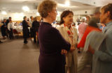 Gaylord, MI, May 10, 2004--Patsy Ramsey(center) speaks with Barbara Listing(left), President of...