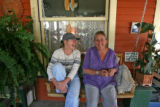 Natalie Pendleton (cq), left sits on a swing at her friends house Gail Bertram (cq) Wednesday...