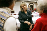 Colorado Lieutenant Governor candidate (center) Barbara O'Brien (D, center) Talks with Julie...