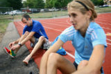 Boulder distance runner Sara Slattery (cq, right), 26, and her husband Steve Slattery (cq, left),...