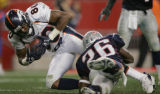 (JPM086) - Denver Broncos Rod Smith, #80, can't stretch a third down reception to the New England...