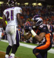 The Denver Broncos' Rod Smith (#80, WR) celebrates after hauling in a touchdown as the Baltimore...
