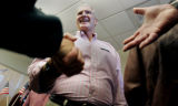 6th Congressional District, democratic candidate, Bill Winter pounds the flesh after speaking at a...