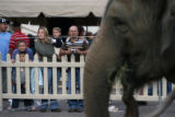 MJM1026 Jordan Rodriquez watches elephants as she holds to her brother, Braden Peninger, 6,  with...