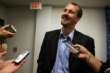 Steve Konowalchuk(cq), laughs during an interview with media during a press conference announcing...