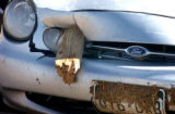 Elbert County, Colo.-May 11, 2004- A car owned by Geneva Stuke,21, sits damaged from Monday's...