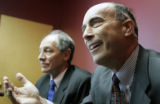 Steven Howards (cq) right, speaks at his attorney's office, David Lane (cq), left, Tuesday...