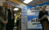 Barbara O'Brien running for Lietenant Gov. and Mayor John Hickenlooper laugh along with...