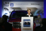 Michigan Governor Jennifer Granholm speaks at the official launch of the GM DaimlerChrysler BMW...
