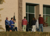 MJM1123 Students are greeted by school officials as they return to Platte Canyon High School in...