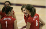 (5A) Heritage High School Eagles #12 Kristy Powers, second from left, celebrates withe teamates #8...