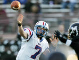 Jack Elway (#7), son of NFL Hall of famer and Former Denver Bronco great, throws the ball for a...