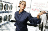 JPM288 -  Wash 'n wear meets fine fabrics and upscale clothes. We illustrate at Smiley's...