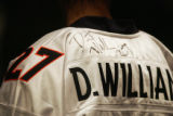 One of the many Darrent Williams jerseys at the public viewing of slain Broncos' cornerback...
