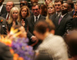 [JPM0374] Denver Broncos coach Mike Shanahan, center, watches with, from left, Broncos owner Pat...