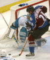 (Denver,CO,Shot On 4/26/04-- Avalanche Peter Forsberg can't get one by on Sharks Evgeni Nabokov,...