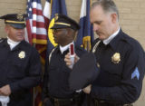(DENVER, CO. JULY 21, 2004) Denver Police Department Color Guard officers John Witkowski, left,...