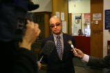 (DLM1277) -  Michael Andre, attorney for Willie Clark, talks with reporters at the Denver Jail in...