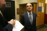 (DLM1334) -  Michael Andre, attorney for Willie Clark, talks with reporters at the Denver Jail in...