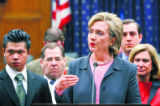 DCHG102 - ** EDS: CORRECTS SPELLING OF BORJA ** Sen. Hillary Rodham Clinton, D-N.Y., second from...
