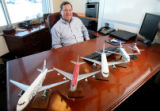 (DLM1346) -  Model planes marking the airlines that Tom Nunn has worked for over his career sit on...