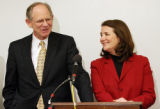 Rep. Michael N. Castle, R-Del (left) and Rep. Diana DeGette, D-Denver, are in good spirits after...