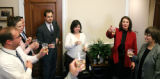 Rep. Diana DeGette, D-Denver, celebrates with staff after her bill that was passed today by the...