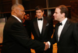 Former NFL player Winston Hill, left, greets National Jewish President and CEO Dr. Michael Salem,...