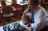 (DENVER, CO. AUGUST 3, 2004) U.S. Senate Candidate Mike Miles plays a game of chess with Rocky...