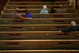 (DLM0987) -  The pews are almost empty during a late morning service at the Church of the Master...