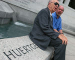 WW2 Washington, July 21, 2004 -  Bert Hubbard, of Painsville, Ohio, left,  and son Bert Hubbard of...