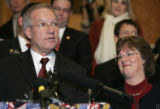 U.S. Sen. Wayne Allard announces Monday January 15, 2007 at the State Capitol that he will not...