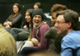 During rehearsal, Robin Hutchins, (cq) (c) a CC senior and history major laughs along with...